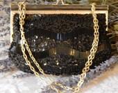 Pristine Vintage~FINE ARTS~Black Glass Beaded Evening Bag~Pearl Lucite~Gold Chain