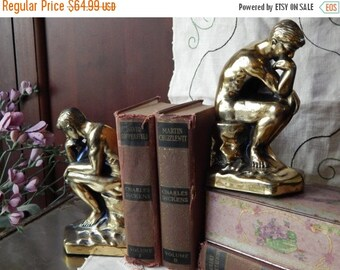 fall sale 2016 1928 ART DECO ----Vintage Brass--Bronze Mint-- The Thinking Man BOOKENDS ----Fabulous hallmarked 1928