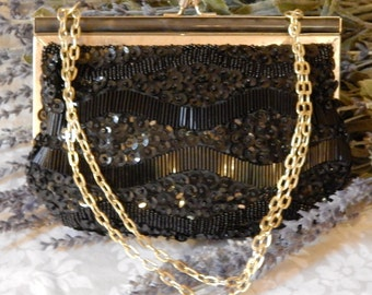 Pristine Vintage~FINE ARTS~Black Glass Beaded Evening Bag~Pearl Lucite~Gold Chain