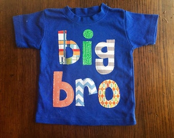 Big Bro Shirt, Big Brother Shirt -Perfect for Family Pictures, Pregnancy Announcement, Baby Shower - Choose Shirt Color and Sleeve Length
