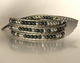 Leather Wrap Bracelet - Silver and Hematite