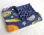 Space Baby Blanket with Navy Minky Swirl - Outer Space Baby Blanket - Solar System Baby Blanket - Planets Baby Blanket - Rose Cuddle Blanket