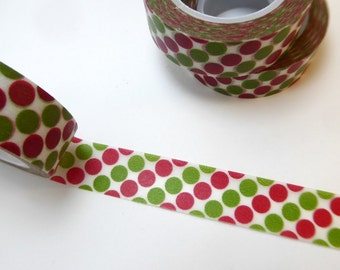 Red and Green Dots Washi Tape - Paper Tape Great for Scrapbooking Paper Crafts and Christmas Decorations - 15mm x 10m