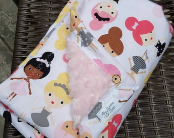 Ballet friends with pink roses minky toddler blanket