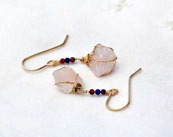 Gold Filled Rose Quartz Earrings. Stone Jewelry. Raw Rough Crystal Earrings. Rustic. Gold Filled Jewelry. Pink Earrings. Handmade in Israel