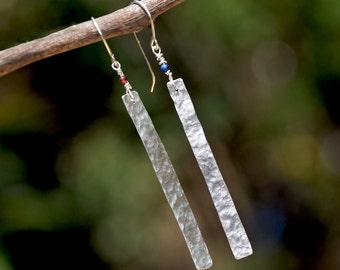 Slim Hammered Silver Earrings. Very Long Rectangle Bar Earrings. 925 Silver Earrings+ Garnet and Lapis Lazuli Beads. Silver Jewelry. Israel