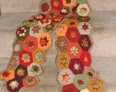 Autumn Colors Hexagon Granny Square Hand Made Crochet Scarf