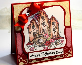 "Mother's Day Card- Handmade Card Greeting Card 5.25 x 5.25"" Happy Mother's Day Birdhouse Stationery 3D Card - OOAK"