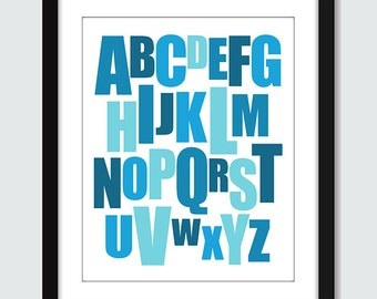 Mixed Alphabet Wall Print. Modern ABC Wall Art - 8x10 Baby Children Nursery Poster