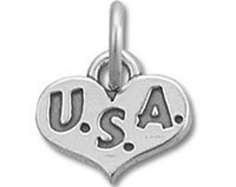 USA Heart Charm - Sterling Silver