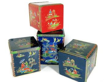 Four Vintage Daher English Tea Tins Asian Theme