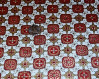 "Vintage Mid Century Modern Red Gold Metallic Fabric 35 1/2"" X 57"""