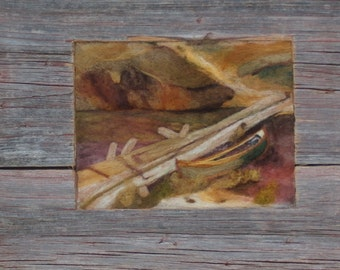 "Needle Felted Handmade Wool Painting, Picture, Framed in Repurposed Barnwood Canoe Dock Stream 19 1/2"" x 14"""