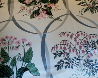 """Vintage Cohama Hand Print Fabric Savoy Pattern 49 3/4"""" x 36"""" Never Used, 10 Continuous Yards Available"""