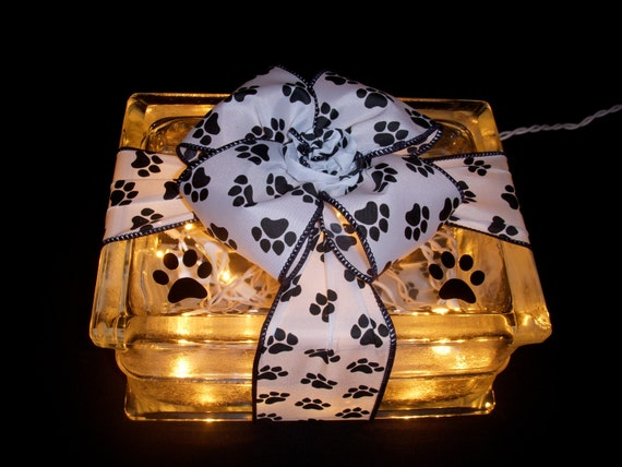 Adorable dog cat black paw print light pawprint glass block for Hollow glass blocks for crafts