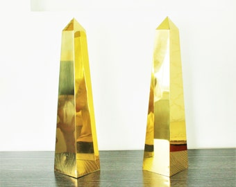 A pair of Large Vintage Brass Obelisks