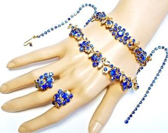 Sapphire Blue Rhinestone Necklace Bracelet Earrings SET Parure 3 Piece EXQUISITE