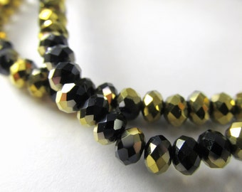 Black and Gold Crystal 4mm x 3mm Rondelles Jewelry Beads