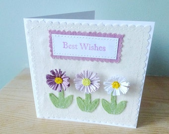 Lilac quilled Daisy Best wishes applique and quilling card