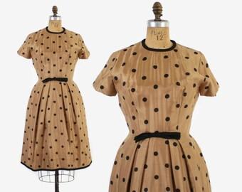 Vintage 50s Silk DRESS / 1950s Cocoa & Black Polka Dot Full Skirt Dress S - M