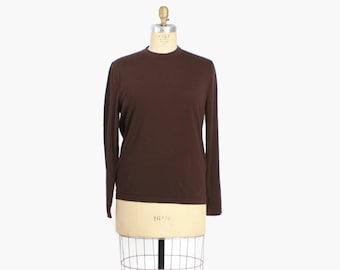 Vintage 70s HERMES SWEATER / 1970s Lightweight Dark Brown Wool Pullover Jumper L - XL