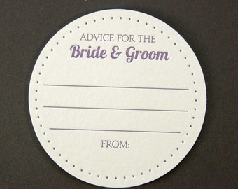 50 Dots Advice for the BRIDE & GROOM Coasters, (Letterpress printed, 3.5 inch circle) set of 50