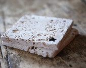 Star Drink Coasters - Set of Four / Natural Tumbled Marble / Handmade Custom Hand Painted / Rustic Home Decor