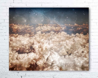 cloud art - surreal cloud photography - clouds from airplane window - pastel pink blue - nursery wall art