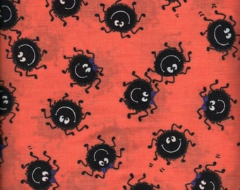 Fabric By the 3 yard Halloween Spiders 100% Cotton Eustheelf BT