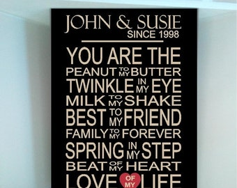 ON SALE Personlized Couples date You are the Peanut to my Butter wooden board sign