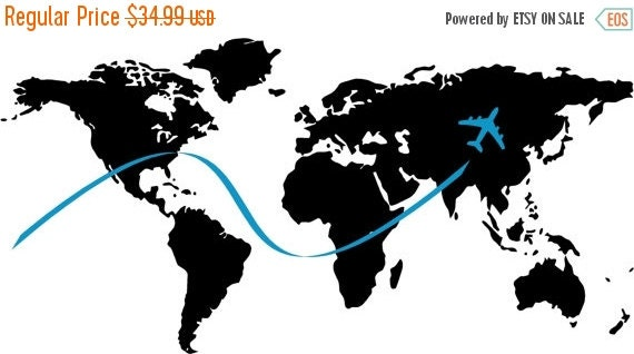 ON SALE World Map with airplane and jet stream...vinyl letttering