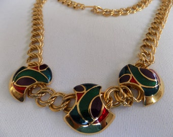Vintage necklace, enamel and chunky gold tone chain necklace, 1960s necklace, vintage jewelry, retro necklace