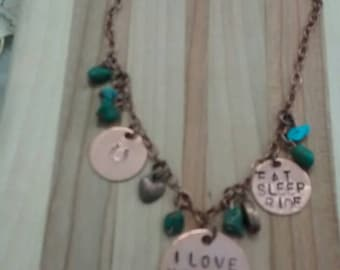 Handstamped  horse copper necklace with charms