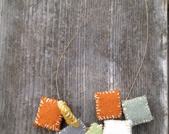 Hand sewn wool felt necklace