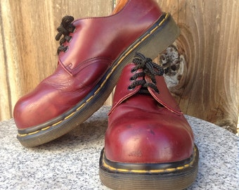 Oxblood Steel Toe Dr Martens, RARE 1980s docs, bubble toe, 3 eyelet shoes, made in England UK size 5, vintage doc martens, doc rubber sole