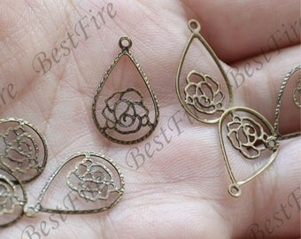 12pcs Antique Brass drop rose flower Filigree Jewelry Connectors Setting,Connector Findings,Filigree Findings,Flower Filigree