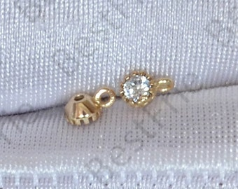 3 pcs 24K Gold plated Brass CZ diamond Charm pendant,pendant Connector,necklace Connector loose bead, Charms Jewelry finding beads