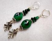 St. Patrick's Day Earrings, St. Patrick's Day Jewelry, Shamrock Earrings, Four Leaf Clover, Green Malachite Earrings, Green Jewelry
