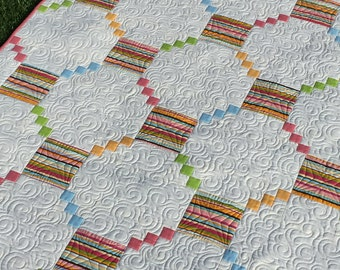 Quilt Lap Quilt Throw Blanket Baby, Toddler Quilt in Pastel Colors Heavily Quilted Sew You Like It