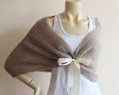 Taupe Bridal Cape/ Wedding Wrap Shrug Bolero/Hand Knit Mohair Shoulder Cover
