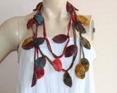 Autumn Leaves Necklace Scarf-Multicolor Lariat Scarf-Necklace Lariat Scarf-Crochet Scarf-Autumn  Scarf