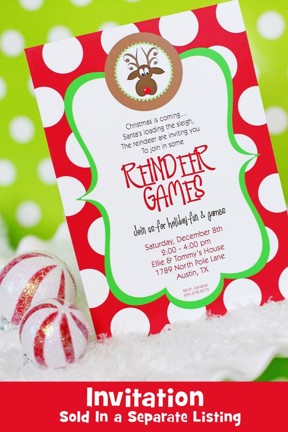 Reindeer Games Party Printables Christmas Party Dirty