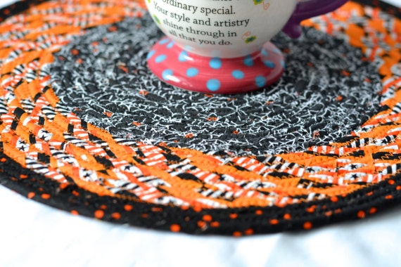 "Halloween Fall Decoration, Handmade Halloween Trivet, 12"" Homemade Place Mat, Lovely Black and Orange Table Topper, Hot Pad"