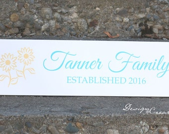 Custom Wedding Gift - SUNFLOWERS Family Established Sign - Wedding sign, personalized family name signs, custom wood sign, flowers