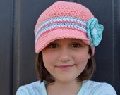 Aqua and Coral Crochet Hat for Girls, Girl's Crochet Beanie Hat, Hat for Girls, Crochet Beanie Hat for Girls, Toddler Hats, Baby Hats