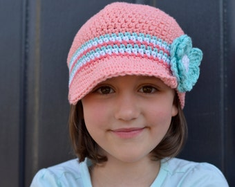 READY to SHIP - SALE, Aqua and Coral Crochet Hat for Girls, Girl's Crochet Beanie Hat, Hat for Girls, Crochet Beanie Hat for Girls