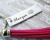 CUSTOM Key Chain TASSEL For You Hand Stamped Polished Aluminum Personalized Made To Order Keychain Short Quote Names Dates Birthday Gift