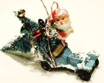vintage tootsie toy roadster die cast car with Christmas tree ornament village putz