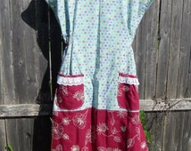 Prairie Dress - Blue Floral Print with Embroidery on Bottom - Burgundy - Cotton