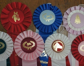 Rosette Horse Prize Ribbons Lot of 7 Ribbons, instant collection, equestrian ribbons, altered art, western decor
